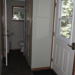 Porch and small bathroom