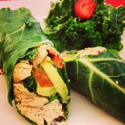 Gluten Free Wrap with chicken avocado and house dressing