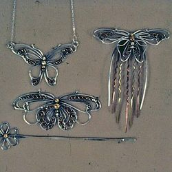 Butterfly collection of Necklace, Barrette, and Decorative Comb