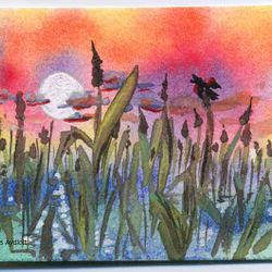 Moon Rise in the Cattails