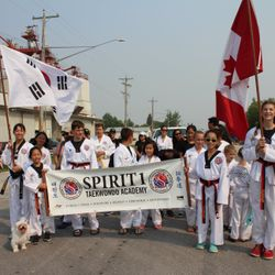 Participating in the local parade in Landmark, MB.