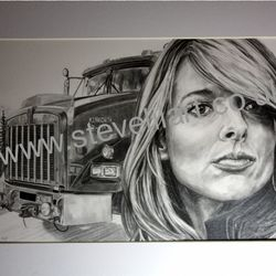 Ice Road Truckers, commissioned artwork pencil rendered artwork by Steve Lilly, stevelilart
