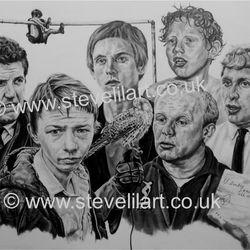 Kes group portrait, pencil rendered artwork by Steve Lilly, stevelilart