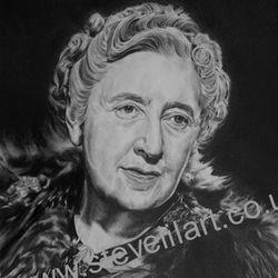 Agatha Christy portrait, pencil rendered artwork by Steve Lilly, stevelilart