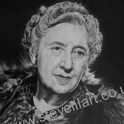 Agatha Christie portrait by Steve Lilly, private commission
