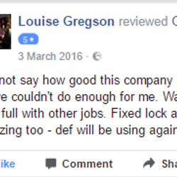 Our 5 star reviews! Taylors Happy customer, low cost locksmith 07525639943