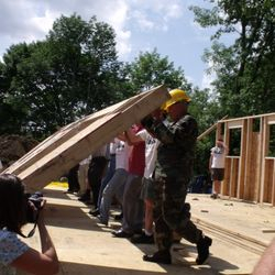 A Wall goes up at a Bedford Build