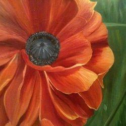 ''Orange Bloom'' oil on canvas, 75 x 60 cm, $250 AUD plus shipping