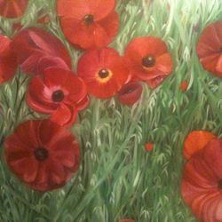 ''Poppy Field'' oil on canvas - SOLD