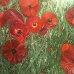 ''Poppy Field'' oil on canvas - SOLD