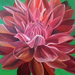 ''Red Chrysanthemum''- oilon canvas 90 x 90cm - $250 AUD plus shipping