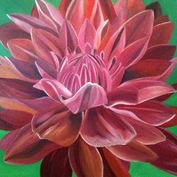 ''Red Chrysanthemum''- oilon canvas 90 x 90cm - $250 AUD plus shipping