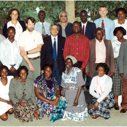 1996: UNZA-UCLMS Mycobacterial research study group, UTH, Lusaka Standing back row: 2nd right: Dr Richard Waddell, Centre Prof Sri Baboo, 2nd from left Dr Alwyn Mwinga, extreme left Dr Shabbir Lakhi. Prof Zumla (centre of photo)