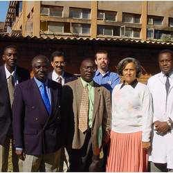 2004: Co-trimoxazole Study Left to right: Dr victor Mudenda, Dr Alwyn Mwinga, Dr Alistair Story, Dr Peter Mwaba, Dr Yusuf ahmed, Prof Chifumbe Chintu, Dr Kennedy Lishimpi
