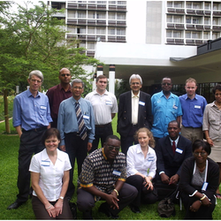 2006 VACSIS-VACSEL Standing: Left to Right: Professor Andrew Nunn (MRC-UK), Dr Shabir Lakhi (UTH), Prof Ganapati Bhat (late), Prof Mark Doherty (Statens Serum Institute, Denmark), Prof Ali Zumla, Dr Jim Huggett (UCL) Prof Voahangy Rsolofo (Institute Pasteure, Madagascar) Sitting: Dr Peter Maaba (2nd from left), Dr Gina Mulundu (1st on right)