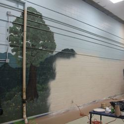 A painting project GoodWorks volunteers participated in for Goodlettsville Elementary School.