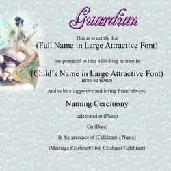 Baby Naming Fairy Theme Certificate for Guardian