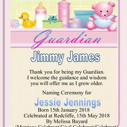 Baby Naming certificate for the Guardian