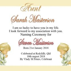Baby Angel Theme Certificate for Aunt