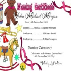 Baby Naming Toy Theme Certificates