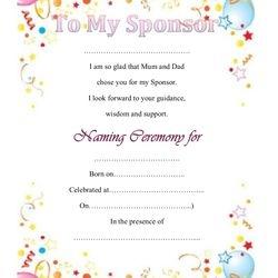 Certificate for the Sponsor