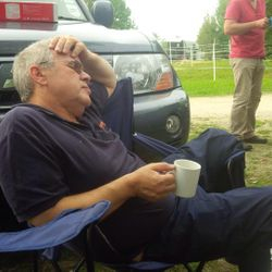 Richard Coulton catching up on some well earned sleep!