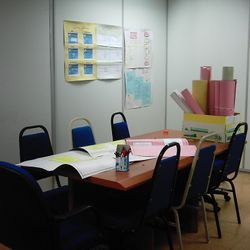 Project Room. Students use the room for group discussions and creating their presentation materials.