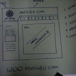 Sample of Work-in-progress. One group's Visual design storyboard showing the layout of a website.