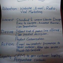 Sample of Work-in-progress. One group's e-marketing plan for an online.