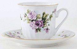 PURPLE FLOWER TEA CUP SET MASSAGE CANDLES