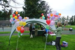 Setting up balloon release & welcome