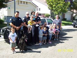 Visiting with the Elk Grove Police officers