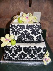 damask with orchids
