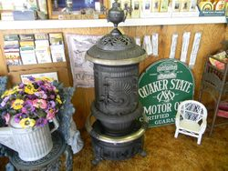 14A Live Oak wood burning stove-Quaker State sign-