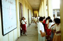 The Gabaldon alley shot crawling with busy students