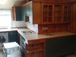 Kitchen and wood panelling to be removed and upgraded to Milbourne Alabaster kitchen pic 1 of 6