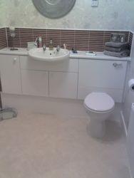 Bathroom vanity units installed