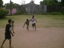 Your donation allowed us to purchase a real soccer ball for these kids!