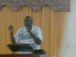 Fred preaching the word.