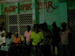Street Preaching at an open air service infront of a local bar!