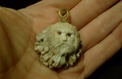 old man pendant in antler