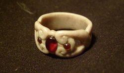 antler and garnet ring
