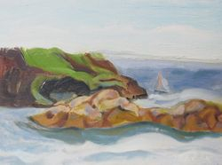 Monhegan Seascape with Boat:  Monhegan Island, Maine