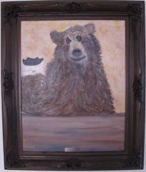 First Cup of Coffee -Antique Frame - 28X34 - $325.00