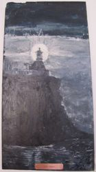 Lighthouse at Night - Reclaimed Wood - 12X20 - $75.00