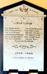 Roll of Honour - World War I and II