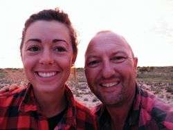 Kelly Cambell and Russell Osborne on a camel safari, Beltana Station, South Australia