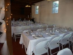 The actual tables layed out and dressed the day of the wedding.