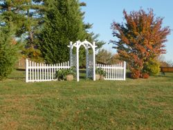 Our white archway & fence