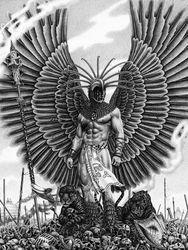A Tattoo of an Aztec Figure